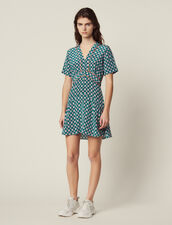 Short Printed Silk Dress : Dresses color Green