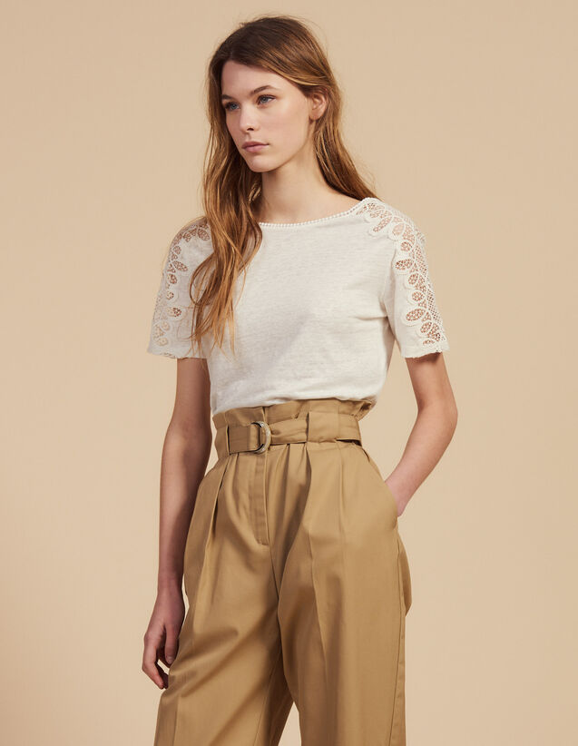 Linen T-Shirt With Lace Trim : Tops & Shirts color Ecru
