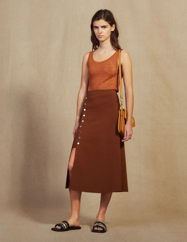 Knit Skirt With Slit : Skirts color Brown