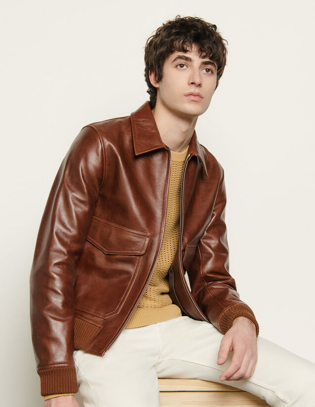 Leather jacket : Spring Pre-Collection color Brown