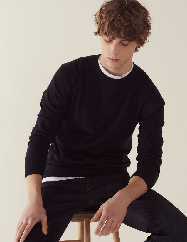Merino Wool Sweater : Sweaters color Navy Blue