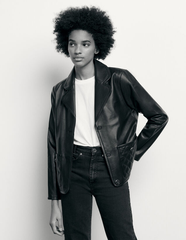 Leather tailored jacket : Spring Pre-Collection color Black
