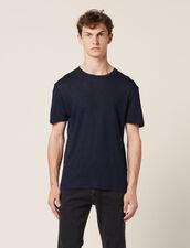 Linen T-Shirt : T-shirts & Polos color Navy Blue