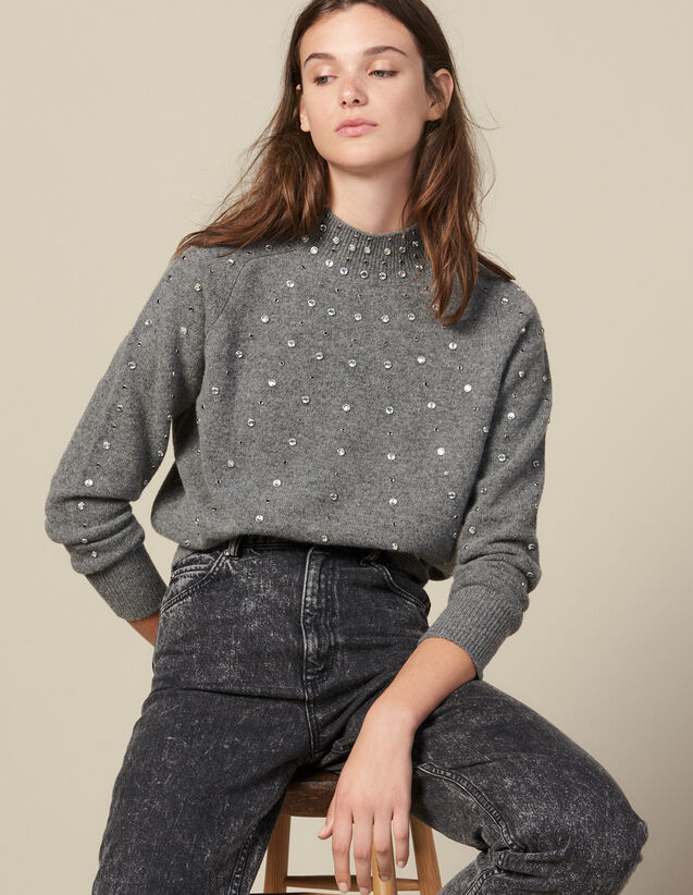 Knitted Sweater Trimmed With Studs : Sweaters & Cardigans color Grey