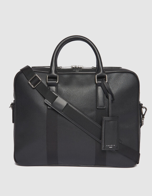 Small Briefcase With Contrasting Handles : Bags color Black