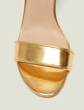 Heeled Sandals In Metallic Leather : Shoes color Gold
