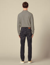 Washed Slim-Fit Stretch Jeans : Jeans color Black
