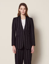 Matching Striped Blazer : Jackets color Black
