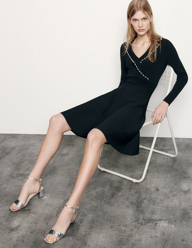 Short knit dress with tailored collar : Spring Pre-Collection color Black