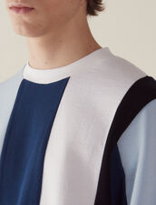Sweatshirt With Wide Contrasting Stripes : Sweaters color Blue