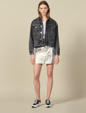 Snow Washed Denim Jacket With Studs : Jackets color Black