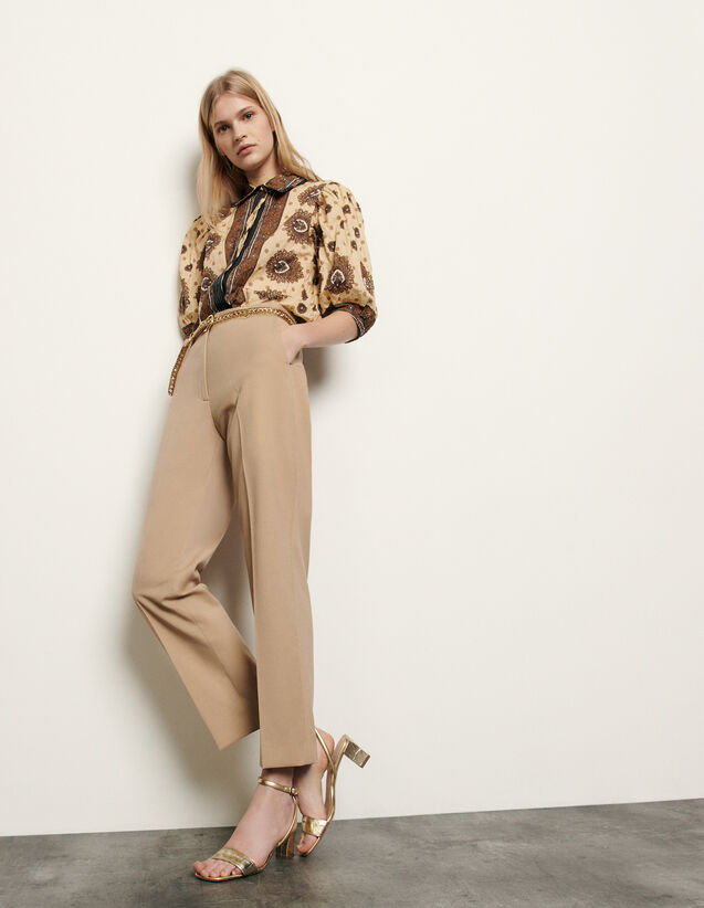 Straight-cut tailored pants : Spring Pre-Collection color Beige