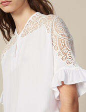Top With Lace Insert : Tops & Shirts color white