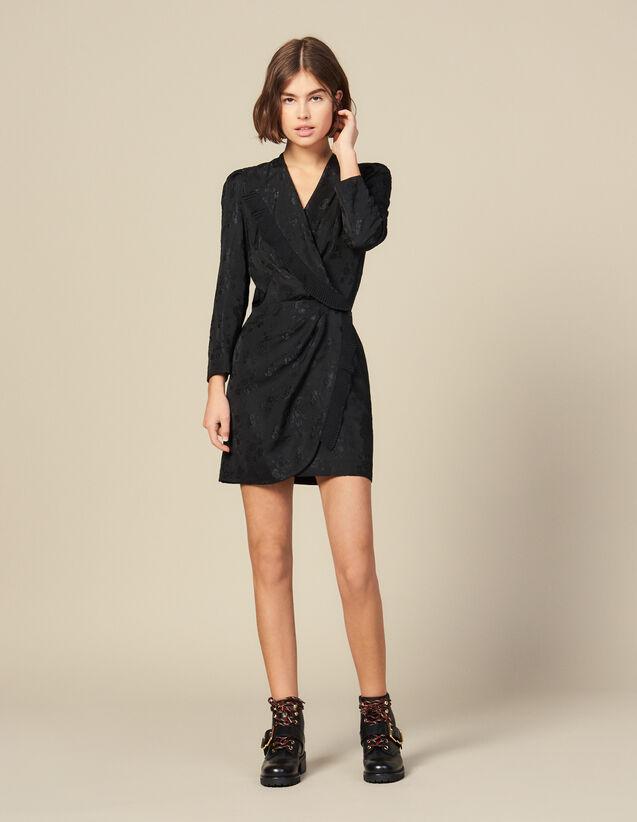 Jacquard short wraparound dress : Dresses color Black