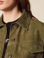 Leather Overshirt-Style Jacket : Jackets color Olive Green