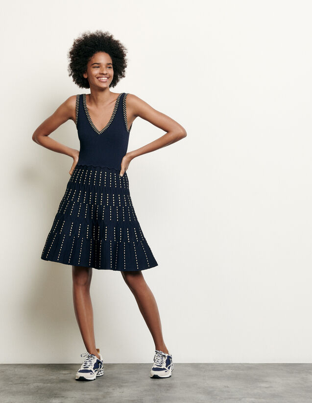 Knitted dress with lurex details : Spring Pre-Collection color Navy Blue