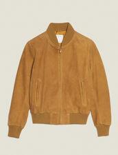 Suede Zipped Jacket : Jackets color Beige