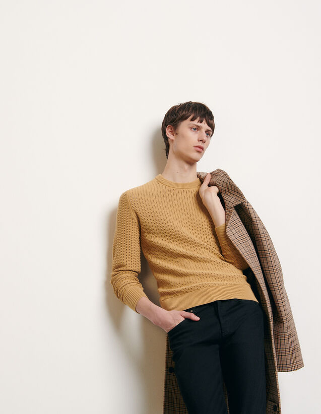 Openwork knit sweater : Spring Pre-Collection color Camel