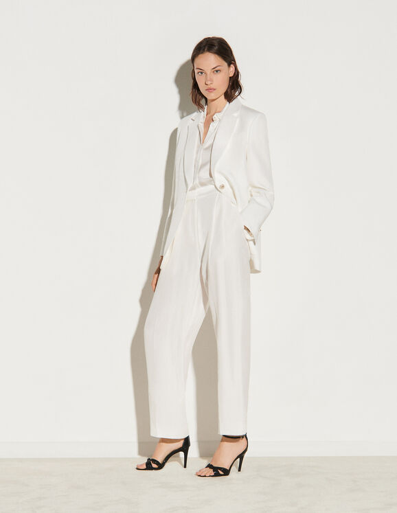 Sandro Linen blend high-waisted trousers