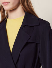 Flowing Trench Coat With Belt : Coats & Jackets color Navy Blue