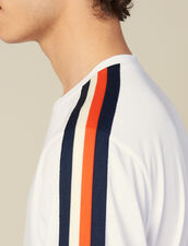 T-Shirt With Stripes On The Sleeves : T-shirts & Polos color white
