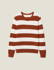Sweater With Large Stripes : Sweaters color Off white/Rust