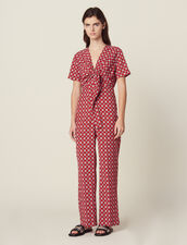 Printed Flowing Jumpsuit : Jumpsuits color Red