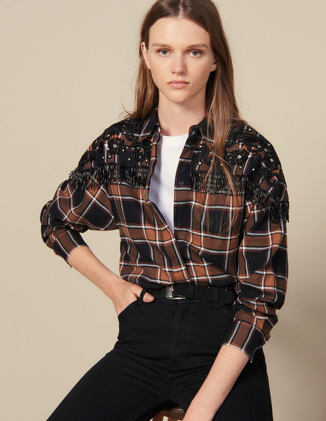 Checked Shirt With Western Embroidery : Tops & Shirts color Camel/black
