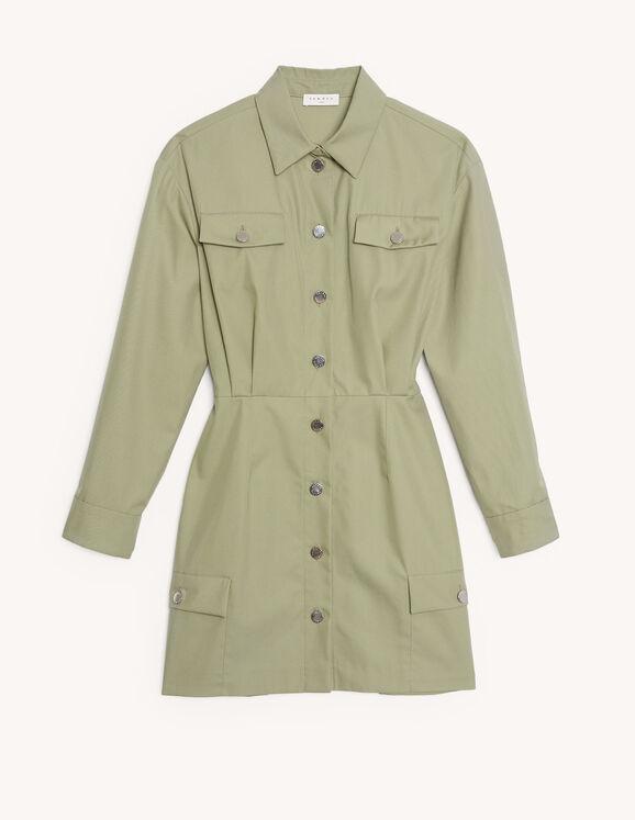 Short cotton safari-style dress : Dresses color Argile