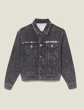 Snow washed denim jacket with studs : Jackets color Black