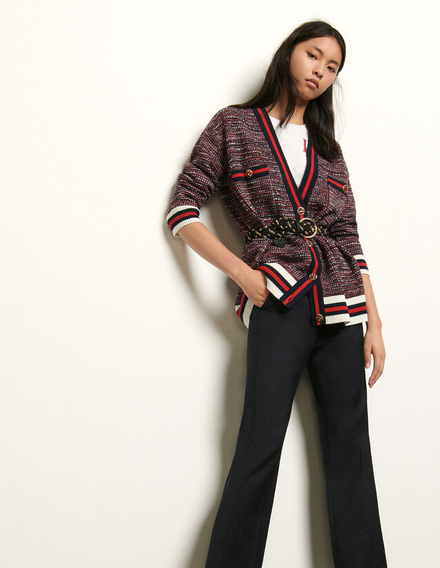 Tweed-effect cardigan with braid trim : Spring Pre-Collection color Blue