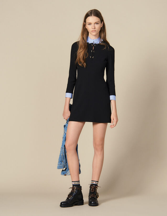 Straight-cut dress with ruffled collar : Dresses color Black