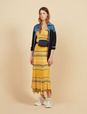 Long Knit Skirt With Zigzag Print : Skirts color Yellow