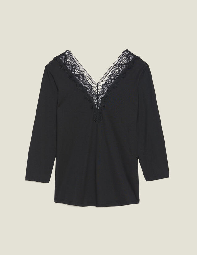 T-Shirt With Lace Neckline : Tops & Shirts color Black