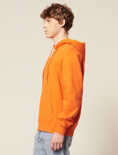 Hoodie Sweatshirt With Logo Embroidery : Sweaters color Orange