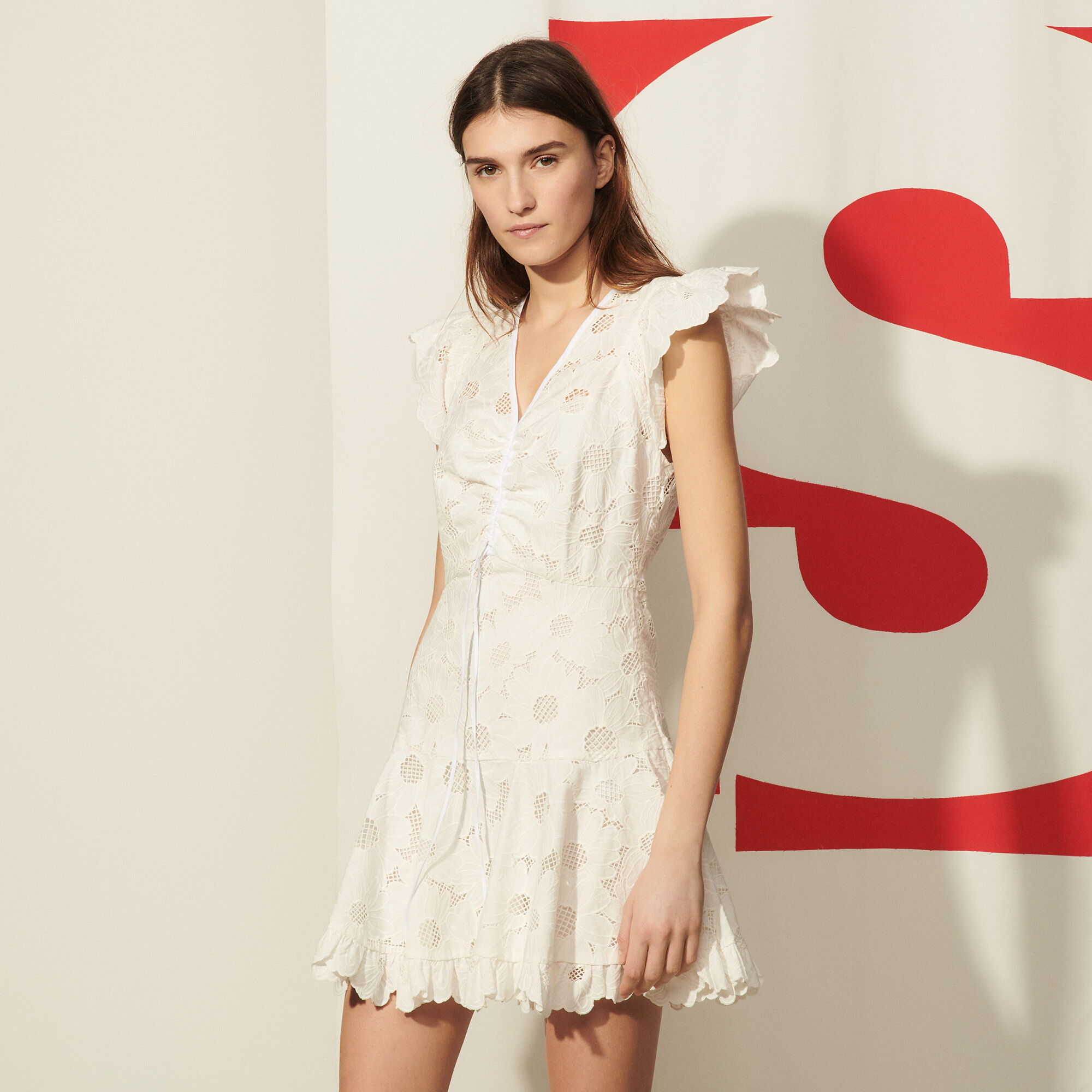 Sandro Short lace dress with embroidery