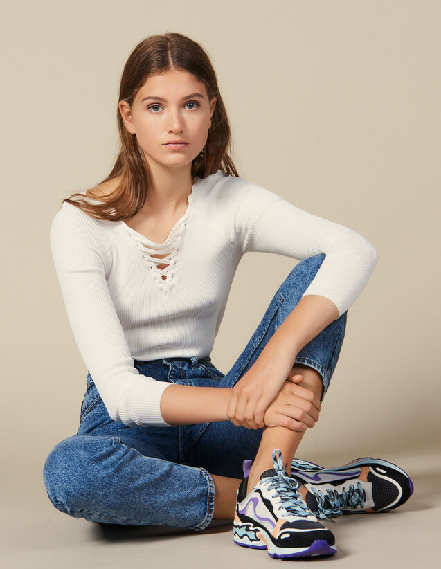 Sweater With Lace-Up Neckline : Sweaters & Cardigans color white
