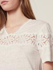 Linen T-Shirt With Lace : Tops & Shirts color Ecru