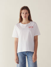 T-Shirt With Flocked Lettering : Tops & Shirts color white