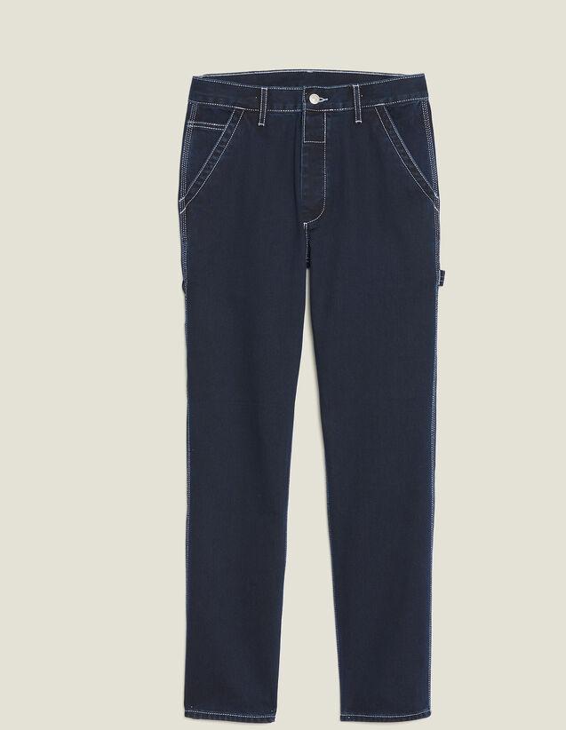 Denim Pants With Topstitching : Pants & Jeans color Midnight Blue Denim