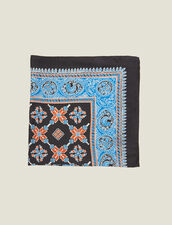 Printed Silk Scarf : Other Accessories color Blue