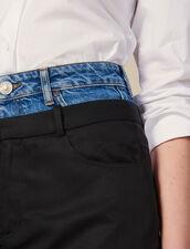 Short trompe l œil effect skirt : Skirts color Black
