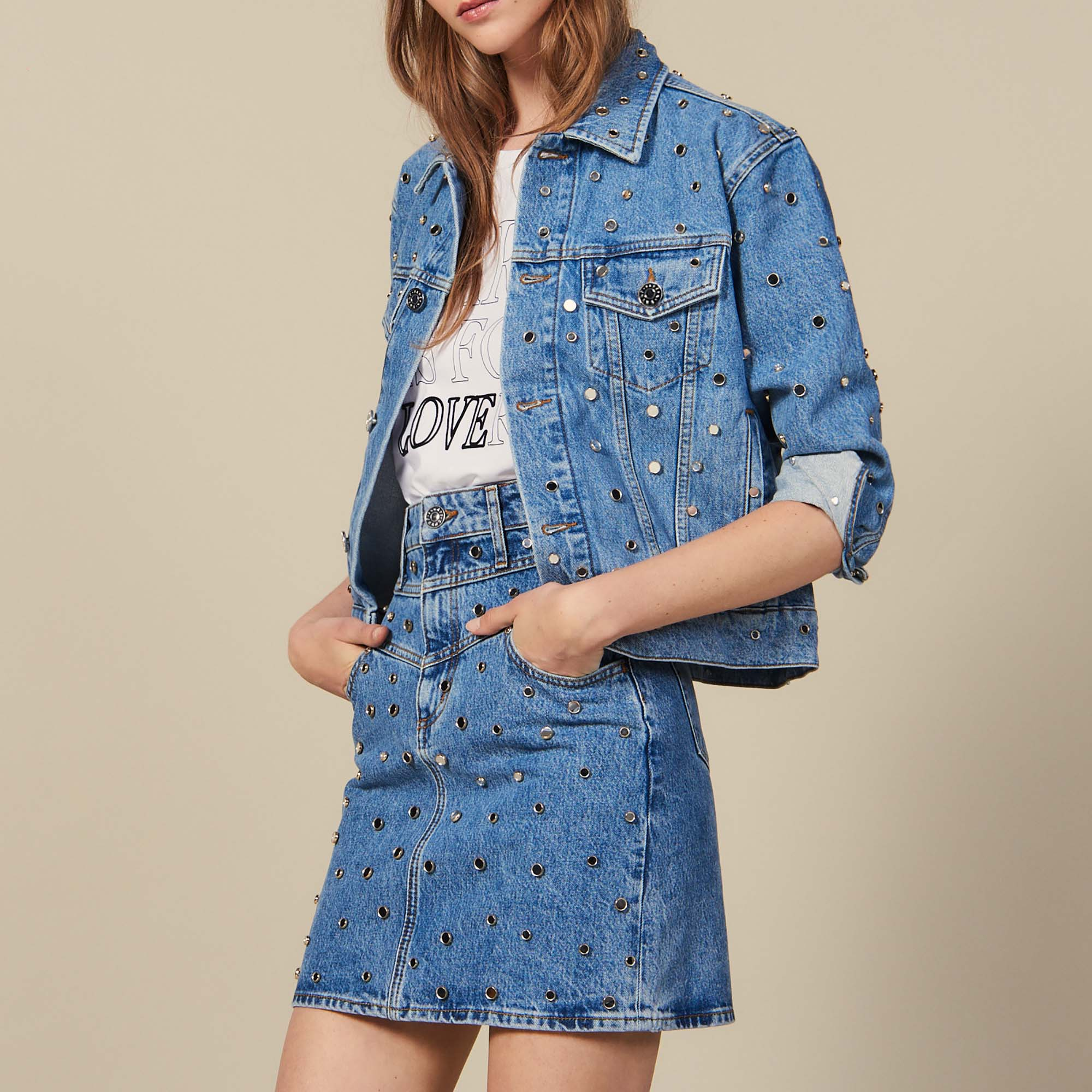d7bed3ba7 Short Denim Skirt Trimmed With Studs : New Collection color Blue Jean ...