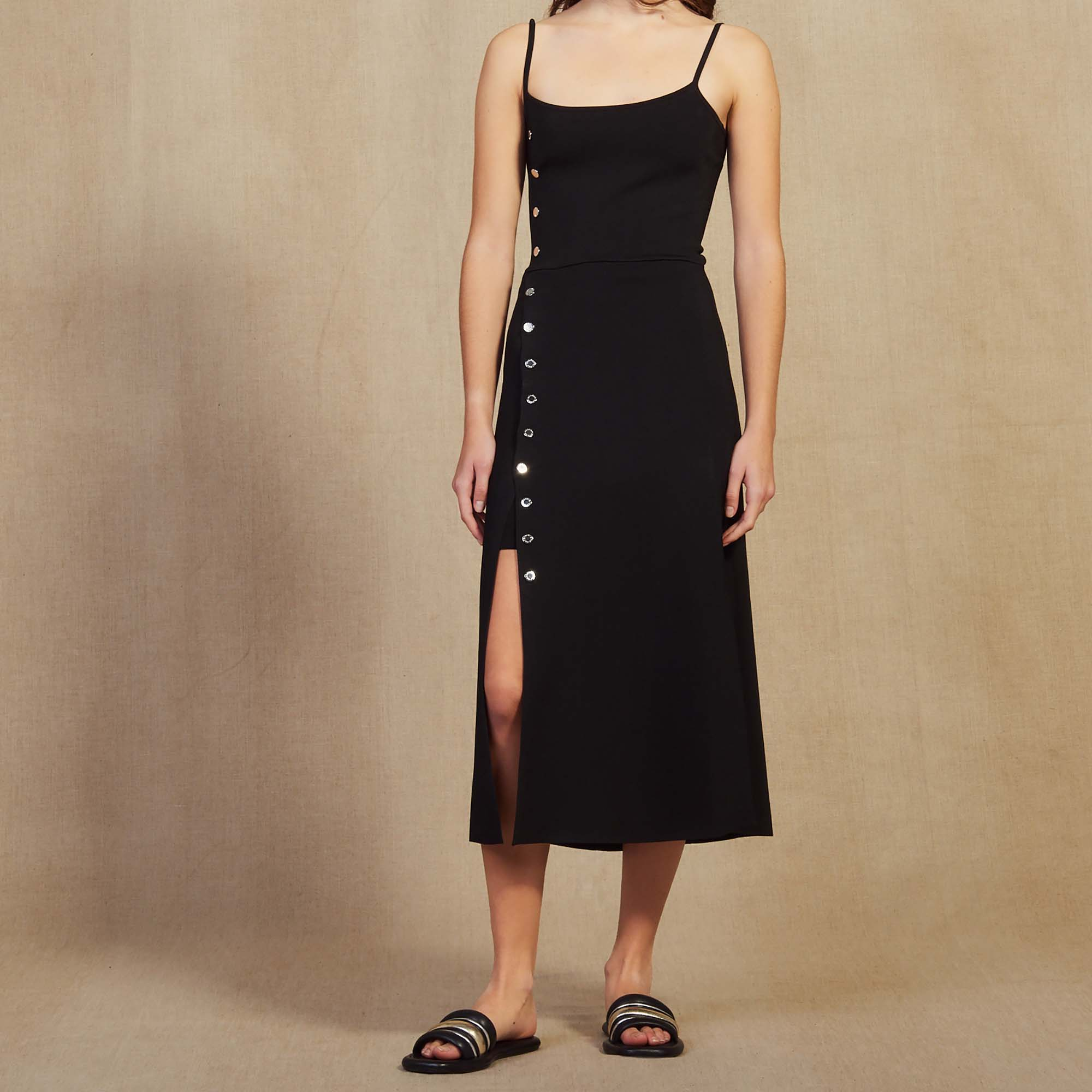 b0395ede22e95d Knitted Midi Dress With Narrow Straps : Dresses color Black ...
