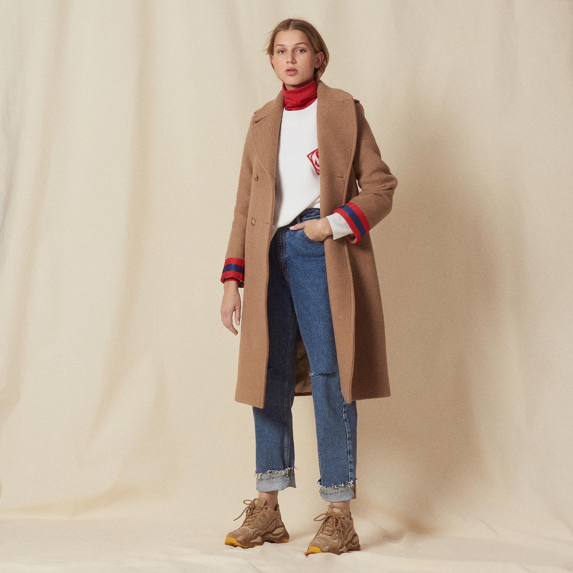 wool coat with fancy cuffs coats sandro paris