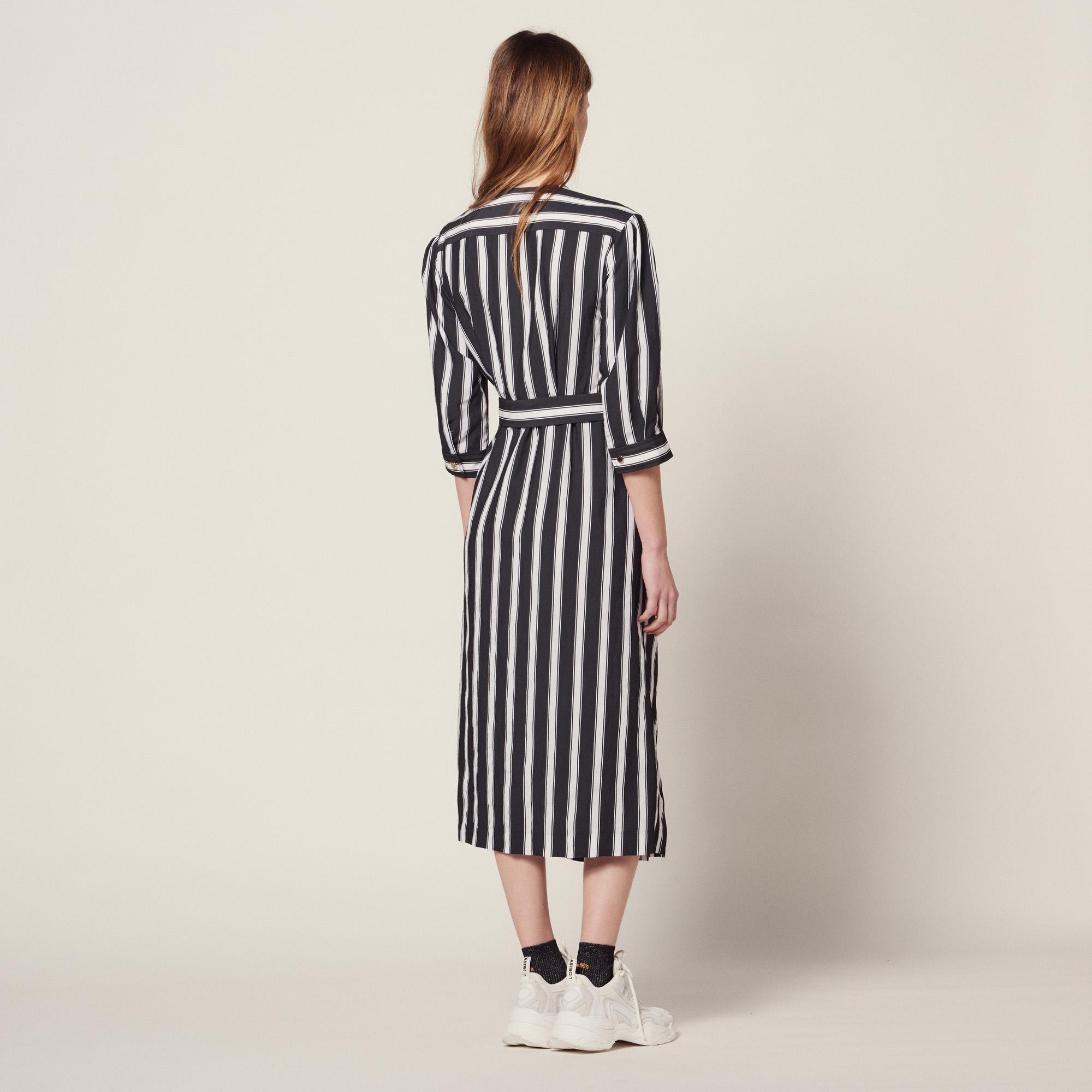 dbda96672d6 ... Midi Dress With Contrasting Stripes   Dresses color Black ...