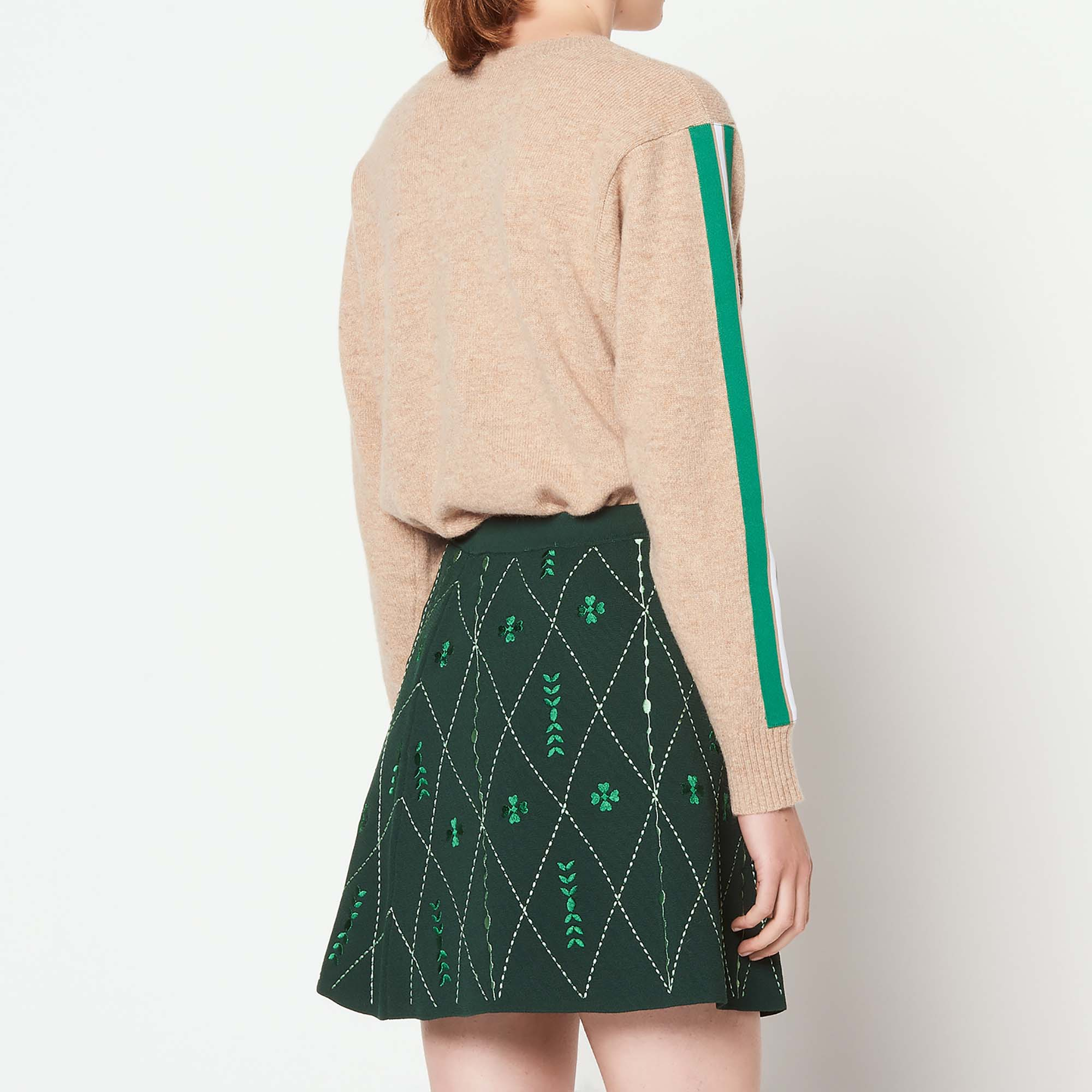 d39b86258 ... Short embroidered knit skirt : Skirts color Chlorophyll ...