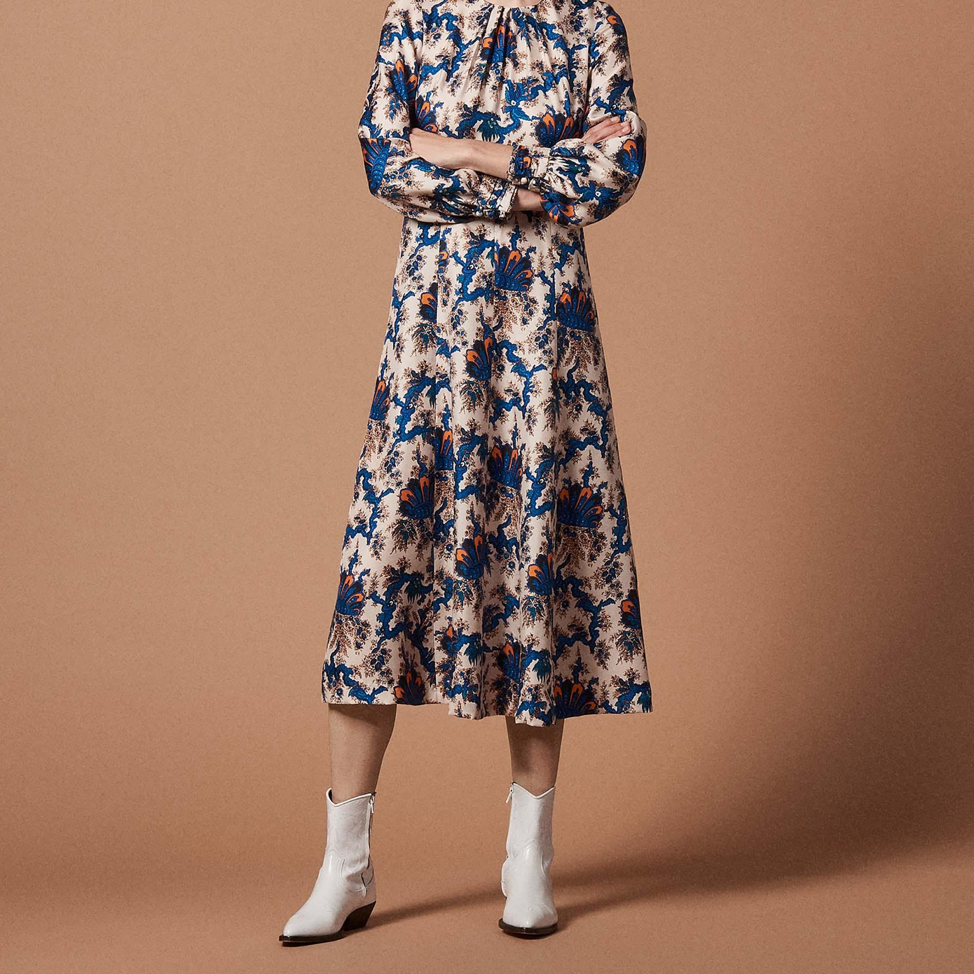 f4f91373f643 All-over print long silk dress   Dresses color Multi-Color ...