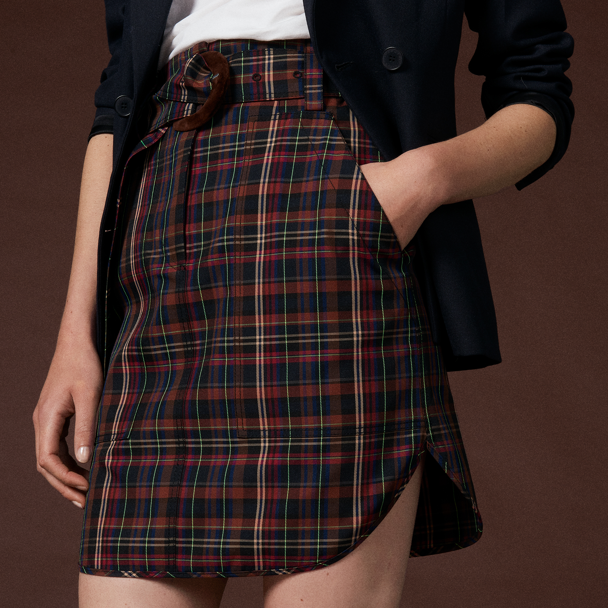 a71d8d53f Short checked skirt with belt : Skirts color Brown ...