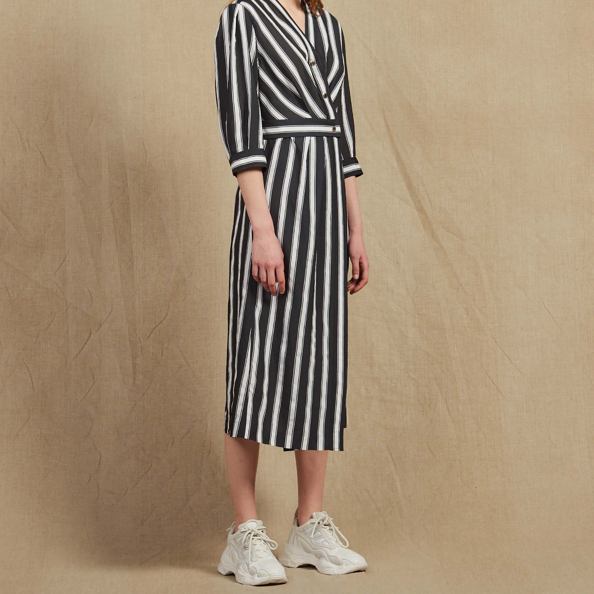 209bee237f0 Midi Dress With Contrasting Stripes   Dresses color Black ...